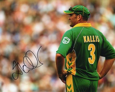 Jacques Kallis, South Africa, signed 10x8 inch photo.(2)